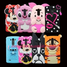 For LG G3 Case 3D Silicon Cat Unicorn Sexy Lips Pig Stitch Cartoon Soft Phone Cover for LG G3 D858