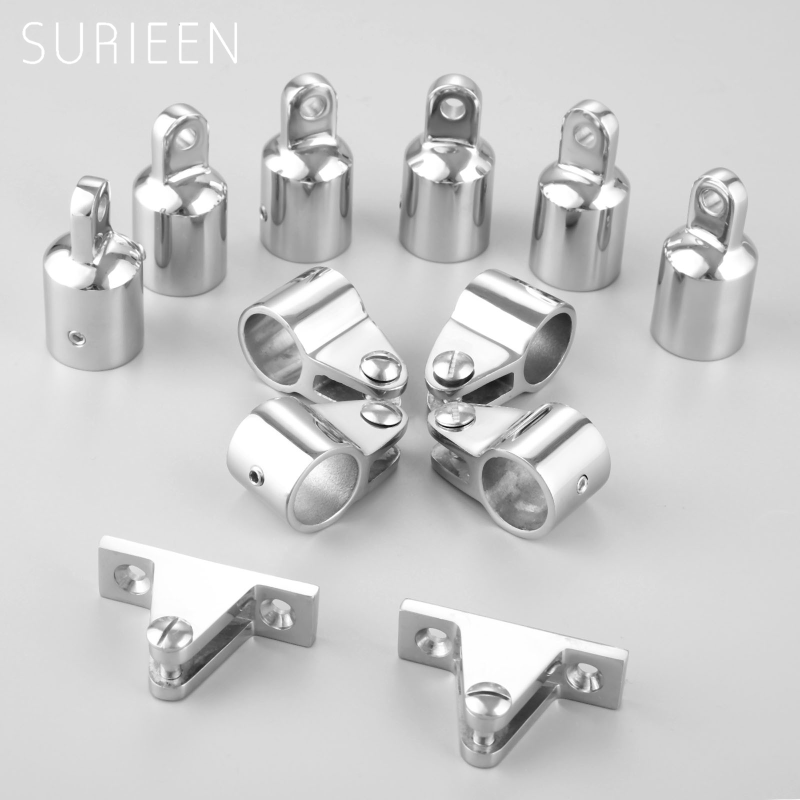 "Marine Boat Stainless Steel Bimini Top Hardware Fitting Set 3 Bow 3/4"" 20mm - 6 Eye End Fitting+4 Jaw Slide Fitting+2 Deck Hinge"
