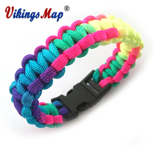 Rescue Paracord Bracelet Parachute Cord Men Emergency Rope Outdoor Survival Camping Braided Pulseras Multy Colors Mix(China)