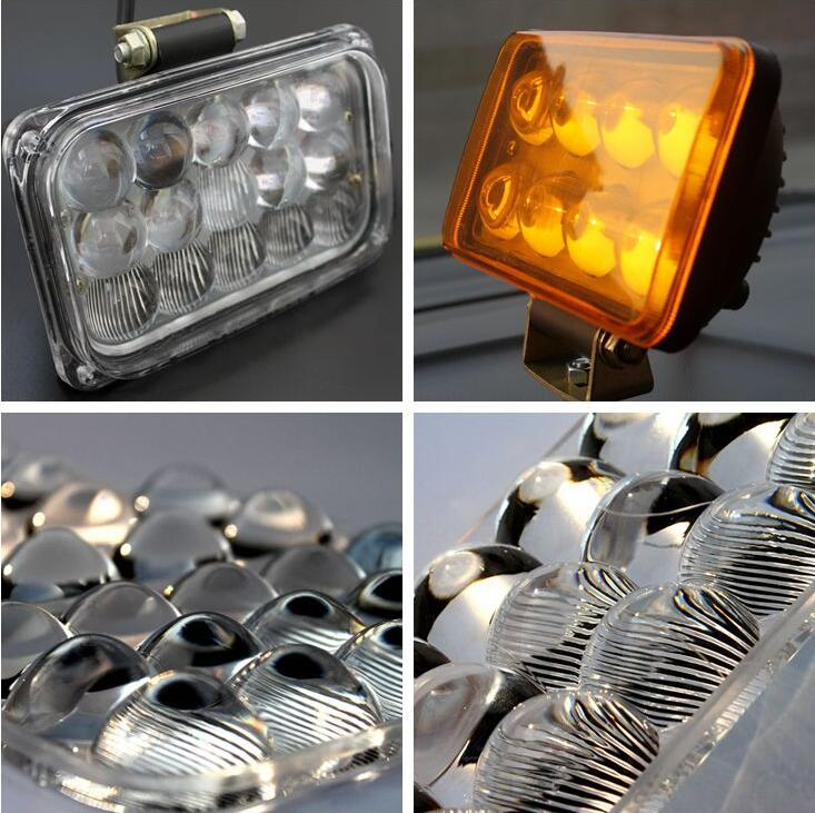 2 PCS NEW 4D LENS 6.25in  45W 2910ML Epsitar LED hi-low beam work trailer flood light <br>
