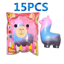 15PCS/lot Cute Squishy Alpaca Doll Slow Rising Original Package Jumbo Phone Straps Scented Pendant Bread Cake Fun Kid Toy Gift