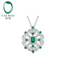 Caimao Jewelry Hot Sales 5x6.5mm Emerald 18K White Gold Diamond Engagement Pendant