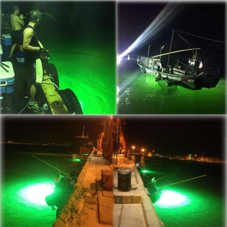 12V LED Green Underwater Fishing Light Lamp 8W Fishing Boat Light Night Fishing Lure Lights for Attcating Fish