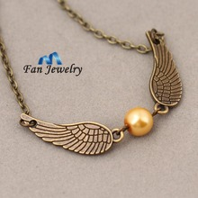 Harry  Antique jewelry Golden Snitch angle wings  Necklace XL064