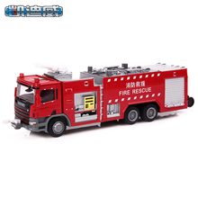 KDW 1:50 Light Alloy Truck Water Tank Fire Engine Model Simulation Of Children Wrecking Car Gift for A Child Kids Toys Boy