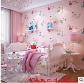 New home decor films Modern wall stickers  kids baby non-woven cute cartoon dancing girl princess sitting room bedroom wallpaper<br>