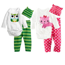 New baby boys girls clothes 3pcs (Romper+hat+pants) cartoon animal pattern baby suit for baby kids boys girls clothing sets