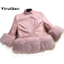 Autumn Winter Children's Cool Leather Jacket Windbreaker Jacket for Girls Coat topolino Clothing Faux Fox Fur(China)