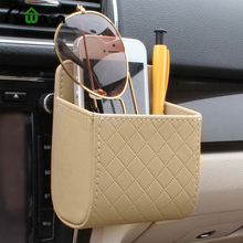 Universal Car Mobile Phone Storage Bag DEDC PU Leather Car Auto Outlet Air Vent Trash Case Mobile Phone Holder Bag Pouch