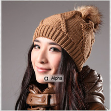 Winter Woman's Cap with Fox Fur Big Ball Solid Color Ladies Knitted Hats & Caps With Fur Pom Pom for Women Skullies & Beanies(China)