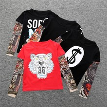 Cool Baby Boys Girls T shirts Tattoo Sleeve Children Mesh Long Sleeve Cotton Tops Tees 2017 Kids&Toddlers Shirts Clothes