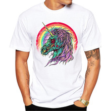 2017 New Arrivals Zombie Unicorn Men T Shirt Vintage Printed t-shirt Short Sleeve Casual Basic Tops Cool Punk Tee Shirts