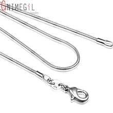 GNIMEGIL 1mm Silver Plated Lobster Clasp Snake Chain Necklace Fits for Pendant 16 18 20 22 24 26 28 30 32 34 36 38 inch(China)