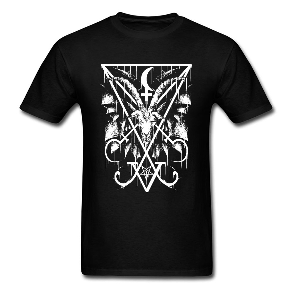 Mens Company Normal Tops Shirts Crewneck Summer 100% Cotton Tshirts Hip hop Short Sleeve GoatBAPHOMET Tops T Shirt GoatBAPHOMET black