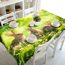 3D Tablecloths 3 Gray Rabbits Printing Waterproof/oil-proof Washable Thicken Rectangle Dining Table Tea Table Cloth -T047