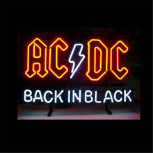 "17*14"" AC DC BACK IN BLACK outdoor NEON SIGN Signboard REAL GLASS BEER BAR PUB Billiards store display Restaurant Shop Signs(China)"