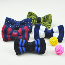 Wholesale Mens Boys Dot Striped Knitted Bow ties Knit Woven Butterfly Classic Skinny Bowtie 12*7cm For Free Shipping(China)