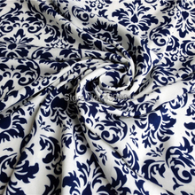 ethnic blue white damascus pattern cotton rayon material for clothing