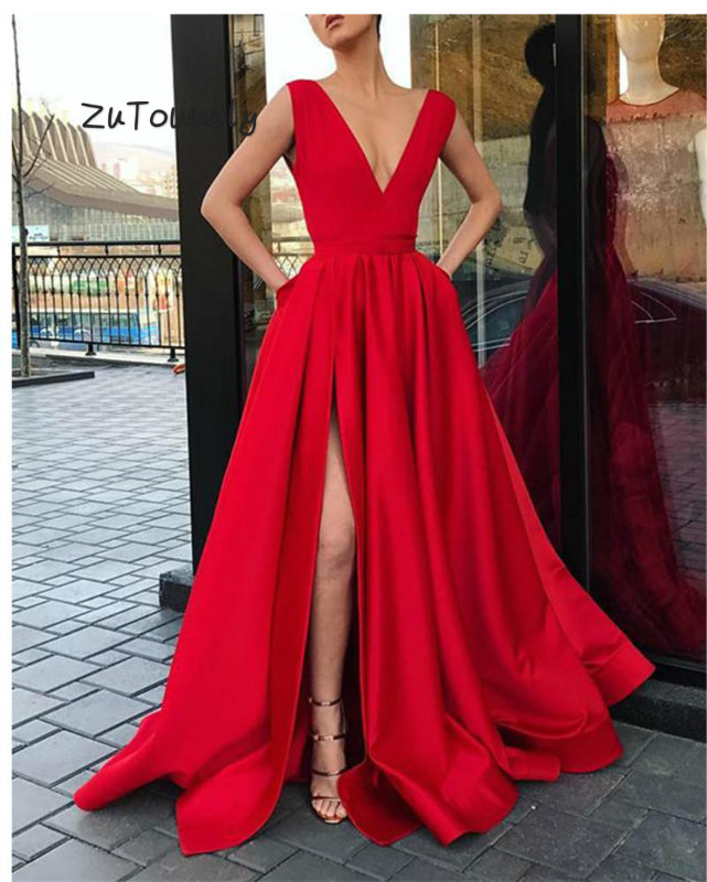 Fitted Red Prom Dresses 2019 Deep V Neck Satin Long Party Dress For Graduation For Girls Evening Ceremony Dresses With Slits