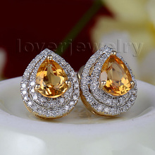 Hot Selling Vintage 2.71Ct Natural Diamond Pear Cut Citrine Earrings Stud Earrings In Solid 14K Yellow Gold 6X8mm(China)
