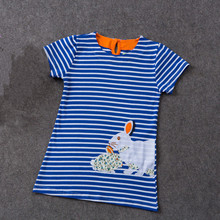Easter Gift Children Short Sleeve Pure Cotton Bunny Striped Embroidery Princess Dress Summer Cartoon Rabbit Baby Girl Clothes