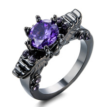 luxurious Retro black gold Ring High grade purple/Rose Red zircon Black Gold Skull head Finger jewelry