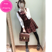 Cute Women's Japanese Preppy Style Sleeveless Tank Dress Plaid Checks Winter Lolita Dress Dark Red&Dark Blue(China)