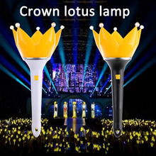 2017 New Light Stick Lotus GD Crown Lotus Head Shape VIP Concert Bar Party Ball Flashing Glow Stick Light-Up Toys(China)