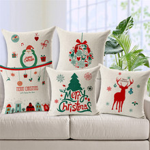 Christmas Deer decorative Pillow Luxury linen cotton 45x45cm seat back Cushion cover high quality print Pillow Covers pillowcase(China)