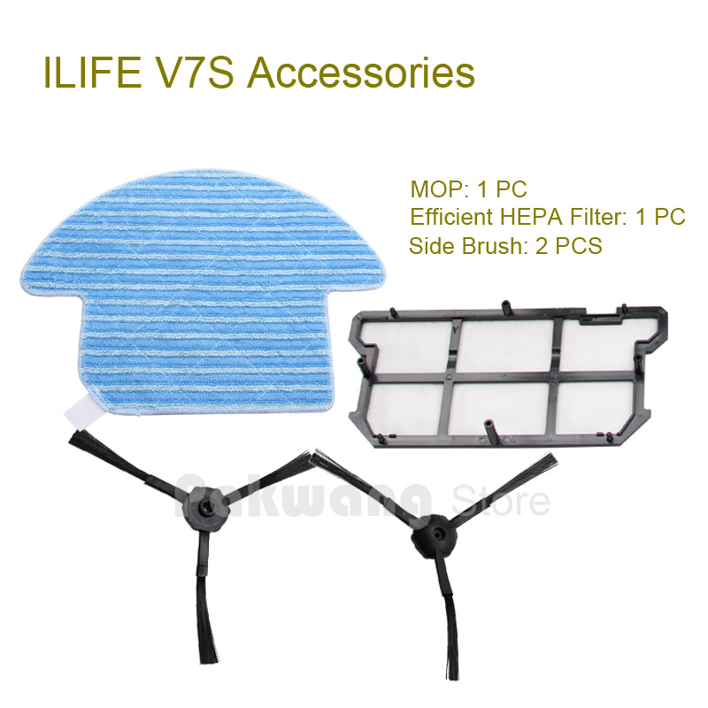 Original ILIFE V7S  Robot Vacuum Cleaner Mop and Efficient HEPA Filter 1 pc, Side Brush 2 pcs, Robot vacuum cleaner accessories<br><br>Aliexpress