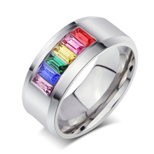 Fashion Multicolor Crystal Ring for women and men stainless steel jewerly promotion wholesale(China)