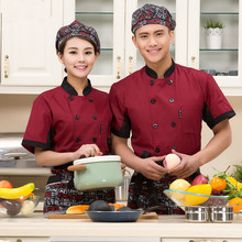 (top+cap+apron, 5 get 15% off) Limited offer man/woman chef wear uniform clothes short sleeve restaurant hotel kitchen coverall