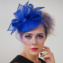 Red Royal Blue Wedding Sinamay Fascinator Hairbands Fashion Women Elegant Church Party Hat  Birdcage Veil Cocktail Hat Hair Clip