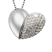 heart design pendrive 4g 8g 16g 32g 64g memory usb flash drive necklace pendant for free shipping