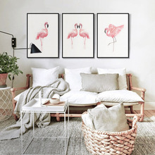 A Group of Pink Red-crowned Flamingo Play Chinese style Leaves Frensh Modern Art Home Bedroom Pattern Decorative Painting(China)