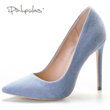 Pink Palms Spring Autumn Summer Denim Shoes with Fur Pompon High Heels Pointed Toe Pumps For Women Dress Party Wedding Pumps(China)