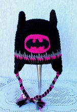 free shipping, Lovely Crochet baby batman hat , cartoon Halloween Hat ,100% cotton black Batman girls hat caps Photo props(China)