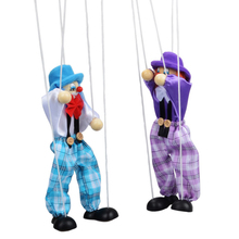 Hot 1 Pc Kids Classic Funny Wooden Clown Pull String Puppet Vintage Joint Activity Doll  Children Cute Marionette Random Color