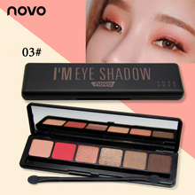 NOVO Light and shadow clever Six Color Eye Shadow Palette With Diamond particles Multi-style Makeup Eye Enhancer Hight Quality(China)