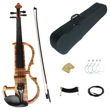 Kinglos Full Size 4/4 Colored Solid Wood Grain Advanced Electric / Silent Violin Kit with Ebony Fittings(China)