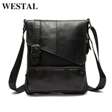 WESTAL Genuine Leather Men Messenger Bag Man Crossbody Shoulder Handbag Cowhide Leather Men Bags Male Casual Bag 8239