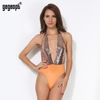 Gagaopt 2017 blackless sexy profundo decote em v lantejoulas bodysuit verão as mulheres jumpsuit mulheres festa bodysuit sem mangas macacão