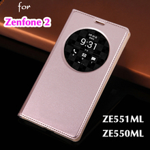 Case For Asus ZenFone 2 ZE550ML Smart View Auto Sleep Leather Phone Cases Flip Cover For Asus ZenFone 2 Deluxe ZE551ML 5.5 Inch