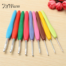 KiWarm Hot Sale 9pcs Aluminum Set Multi colour Crochet Hooks Needles Knit Weave Craft Yarn Home Sewing Tools Color random(China)