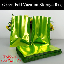 "100pcs 7x10cm (2.8""x3.9"") 180micron Small Glossy Green Aluminum Foil Open Top Bag Heat Sealing Vacuum Zipper Green Packaging Bag"