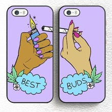 2pcs/lot Besties Best Buds Smoking Pair Matching Soft Rubber Phone Cases For iPhone 6 6S Plus 7 7 Plus 5 5S 5C SE 4S Back Shell