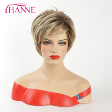 HANNE Mix Brown And Blonde 613 High Temperature Synthetic Hair Wigs Heat Resistant Natural Wave African American Short Wig(China)