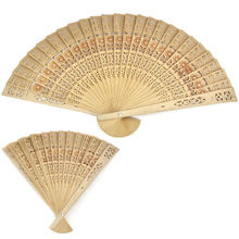 20cm Wedding Bridal Party Decor Fan Vintage Folding Bamboo Original Wooden Carved Hand Fan