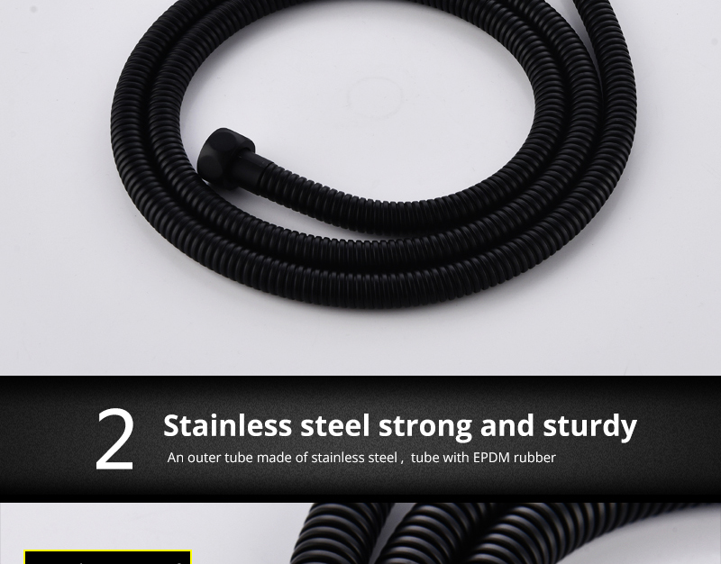 DCAN Plumbing Hoses Stainless Steel Black Shower Hose 1.5m Plumbing Hose Bath Products Bathroom Accessories Shower TubingHoses (4)