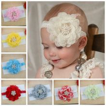 fascinator bebe menina flower Headbands with pearls rhinestone BB headband girls headwear newborn hair band(China)